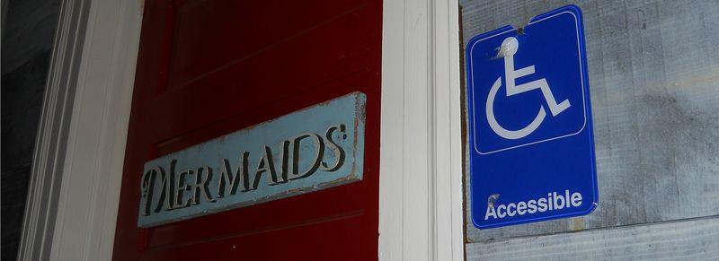 Mermaid mermaids wheelchair accessible sign restroom bathroom atlanta decatur harbour bar and fish house
