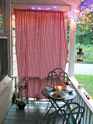 Porch curtain made from IKEA check fabric