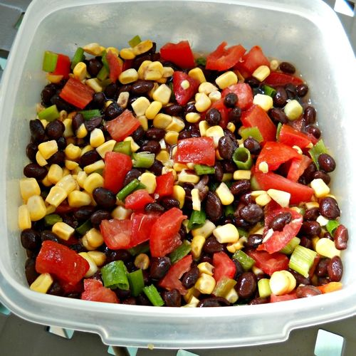 Stacy's Super Santa Fe Salad: tomatoes, black beans, corn, green onions