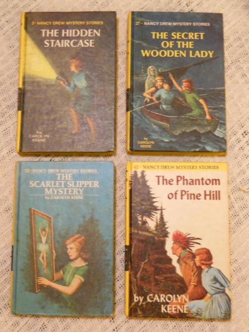 Nancy Drew covers Hidden Staircase Secret of the Wooden Lady Scarlet Slipper Mystery Phantom of Pine Hill